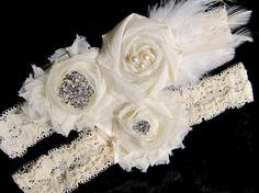 Vintage Inspired Bridal Garter Set in Ivory by PetalnPearlBoutique
