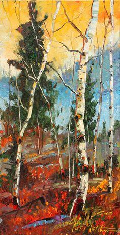 "It's #fall time! Verticals and horizontals criss-cross in Patrick Matthews' ""Autumn Hues."" #autumn #SantaFe #NewMexico #seasons #art #fineart"