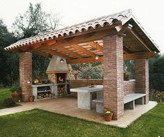 Pergola For Small Patio Info: 9995773657 Backyard Kitchen, Outdoor Kitchen Design, Kitchen Rustic, Summer Kitchen, Kitchen Dinning, Outdoor Kitchens, Bar Kitchen, Backyard Patio Designs, Backyard Landscaping