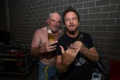 Eddie Vedder of Pearl Jam with Ross Knight of Cosmic Psychos backstage at Big Day Out Sydney 2014