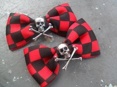 Illusions 2 Hair Bows Psychobilly Gothic Scene Emo by tranquilityy, $7.25