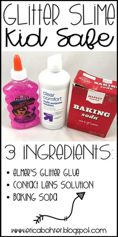 Glitter Slime: Three Ingredients and Kid Safe How to make Glitter Slime recipe, Borax Free, Kid Safe, Three Ingredients, plus How to Make Slime Recording Sheet<br> Make Slime For Kids, How To Make Slime, Diy For Kids, Making Slime, Slime No Glue, Glitter Slime, Glitter Glue Slime Recipes, Glitter Gel, Slime With Clear Glue