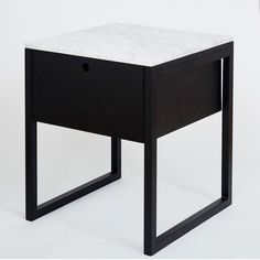 Max Italian Carrara Marble Bedside Table
