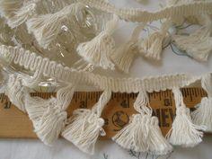 "Ecru Natural Tassel Fringe trim 1.75"" wide cotton retro choose yards yardage sewing crafts costume home decor off white fringe boho hippie by kabooco on Etsy"