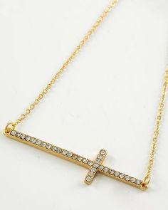 Gold Tone / Clear Rhinestone / Lead Compliant / Cross Necklace
