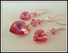 Pink Swarovski Jewellery Set, Rose Heart Pendent, Pink Crystal Earrings, Bridal Wedding Jewellery, Gift For Her Under 30, Girlfriend Gift,