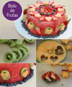Bolo frutas                                                                                                                                                                                 Mais Bolo Flan, Flan Cake, Healthy Cake, Healthy Desserts, Healthy Birthday Cake Alternatives, Oreo Rice Krispie Treats, Fresh Fruit Cake, Fruit Cakes, Fruit Birthday Cake