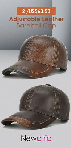 6f7ec0d8340fd Mens Cowhide Leather Baseball Cap Casual Cosy High Quality Sunshade Leather  Cap Adjustable is hot sale on Newchic.