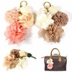 Big Fabric Flower Pearl Car Key Ring Chain Holder Purse Bag Charm Accessory Gift #Jacc