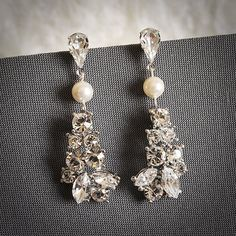 ZAFIRA, Chandelier Rhinestone Bridal Stud Earrings, Oval Crystal and Pearl Wedding Earrings, Vintage Inspired Jewelry, White or Ivory (request no pearls) at $63 on etsy.com