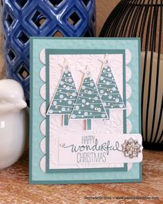Bernadette's festive card: Festival of Trees, Wondrous Wreath, Dazzling Diamonds Glimmer Paper, & more. All supplies from Stampin' Up!