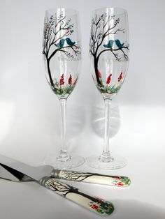 4 pc SET of Hand painted Wedding Toasting Flutes by pastinshs, $89.00