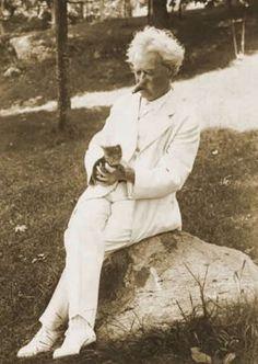 Mark Twain and his cat - c.1900