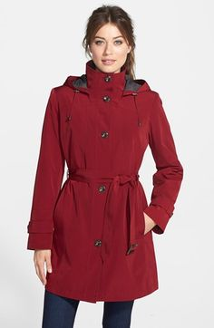 Gallery Two-Tone Belted Raincoat with Detachable Hood & Liner (Online Only) available at #Nordstrom