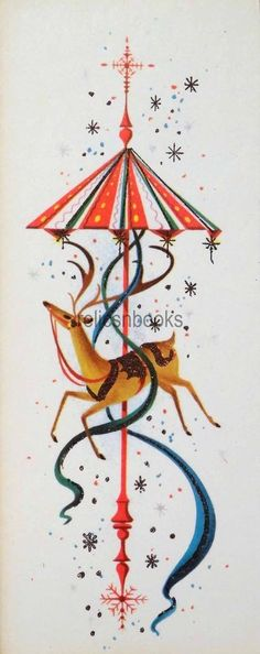 #1438 60s Unused Mid Century Deer-Vintage Christmas Card-Greeting
