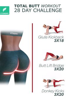 BUTT WORKOUT Who wouldn't want a more lifted, toned, and tighten booty? These butt exercises will work all three glute muscles so you can get that booty in the perfect shape.Who wouldn't want a more lifted, toned, and tighten booty? Gym Workout Videos, Gym Workout For Beginners, Fitness Workout For Women, Fitness Workouts, Easy Workouts, Fitness Motivation, Butt Workouts, Total Fitness, Workout Plans