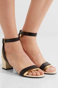 Lanvin - Metallic-trimmed Leather Sandals - Black - IT35