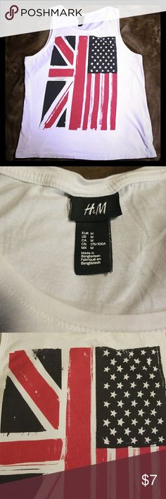 H&M Tank with American Flag/ Union Jack Size M White H&M tank top with American Flag/Union Jack. Good condition no stains. H&M Tops Tank Tops