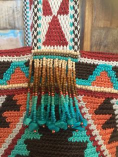 Beaded mochila bag Miyuki beads and Turquoise by creaconlemani