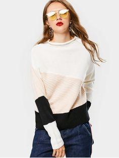 Color Block Mock Neck Sweater - BLACK ONE SIZE