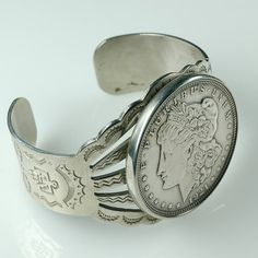 Vintage Silver cuff bracelet Antique by LaurelCanyonBeads. Fred Harvey era Southwestern Native American design, made with a real whole 1921 Morgan silver dollar
