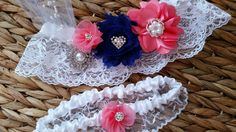 Navy blue and coral wedding garter belt set -available in white or ivory lace / Coral and navy garter set
