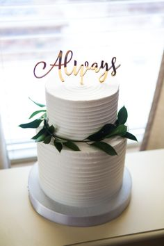 """""""Always"""" Cake Topper in Gold Mirror - Harry Potter Inspired Wedding Cakes in Boho Chic 