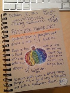 An Art Teacher's Journal. Pattern, line, design Pumpkins. A great way to incorporate art into a Halloween lesson. Any grade K - 5. They can also draw a Jack - O - Lantern face in black.