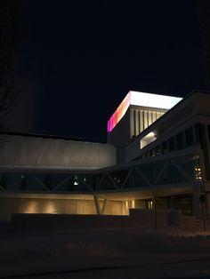 Kuopio City Theatre and its Light art display in Kuopio, Finland. January 2016.