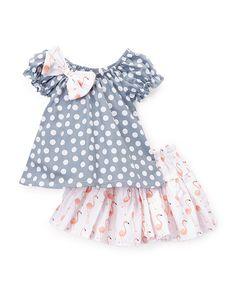 Gray Dot Cap-Sleeve Top & White Skirt - Infant Toddler & Girls