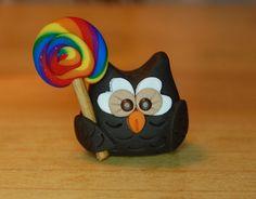 polymer clay owl dark brown with rainbow swirl by SMarrtCreations, $8.00