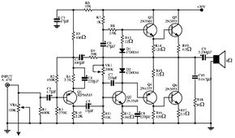 Audio power amplifier circuit- 140 W Dc Circuit, Circuit Diagram, Electronics Components, Electronics Projects, Hifi Amplifier, Electronic Engineering, Audio System, Simple, Bass