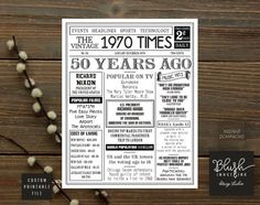 50th Birthday - 1970 Printable Authentic Look Newspaper Style Poster 50th Adult Birthday, Born in 1970, 50th Birthday Gift for Men or Women This is a fun 50th birthday poster filled with facts, pop culture, and events from the USA in 1970. Makes an excellent gift or party decoration! This is a