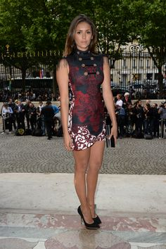 Nina Dobrev looked lovely wearing a bold printed #Versace mini dress. #AtelierVersace #VersaceCelebrities