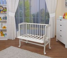 WALDIN Cuna colecho para bebé, cuna para bebé, altura regulable, natural sin tratamientos o lacado en blanco,Lacado en blanco: Amazon.es: Bebé