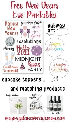 Free New Years Eve Printables including circle labels and subway art Holiday Activities, Holiday Crafts, Printable Planner, Free Printables, Circle Labels, Free News, Subway Art, Best Blogs, New Years Eve