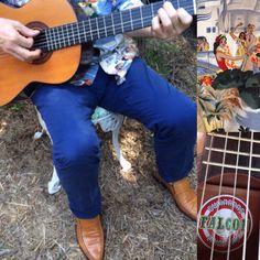 Reyn Spooner Hawaiian shirt, Incotex trousers, Oliver Sweeney shoes and Falcon guitar, Lima Peru.