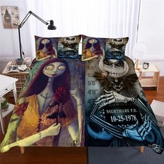 Jack and Sally Nightmare Before Christmas Bedding! Link on bio! Sally Nightmare Before Christmas, Nightmare Before Christmas Decorations, Nightmare Before Christmas Wallpaper, Jack Skellington, Christmas Bedroom, Christmas Fabric, Jack And Sally, Quilt Cover, Duvet Cover Sets