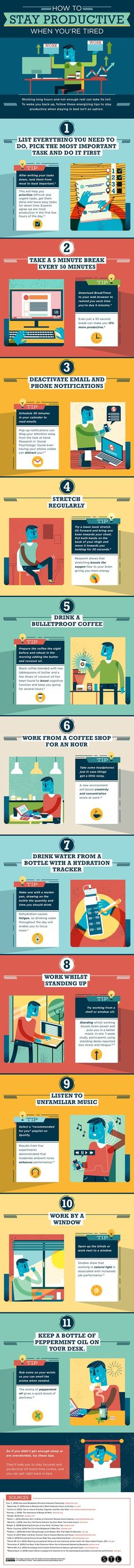 Productivity tips for small business owners and bloggers! Wondering how to be productive all day? If you're on a deadline, the 11 tips on this infographic will help you stay productive when you're dragging!