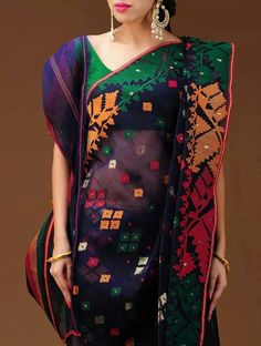 Purple based multi colored traditional Dhakai muslin jamdani saree by Vastra Kuttim