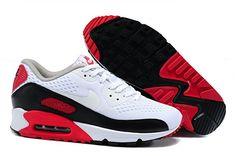 finest selection bc60f 6c456 XATD511 Kvinder Nike Air Max 90 Premium EM kører Sko Hvid Rød Sort nR2DUb  1