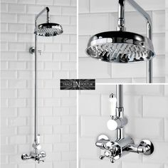 Traditional Victorian Style Thermostatic Shower Valve Rigid Riser Kit Set Chrome