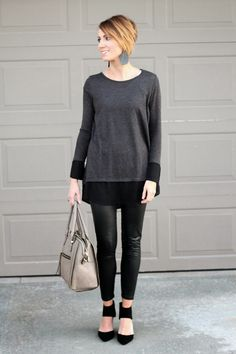 Black monochromatic date night look with leather leggings. Easy way to be sexy yet modest.