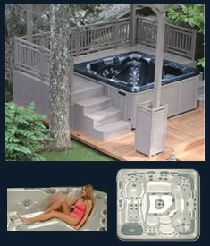 I like the steps leading up to the hot tub, but I would still want it surrounded by a nice gazebo/pagola with walls!