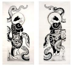 #tattoo #cats by Horitomo
