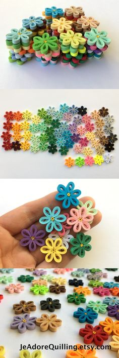 Quilled Flowers Paper Quilling Art Confetti Scatter Ornamenst Gifts Fillers Easter Mothers Day Baby Bridal Shower Wedding Spring Multicolor