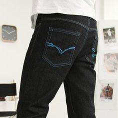 SuperFU Embroidered-Pocket Straight-Cut Jeans PRICE  $35.00    #pants #fashion #men