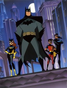 Batman (Bruce Wayne), Batgirl (Barbara Gordon), Robin (Tim Drake) and Nightwing (Dick Grayson) by Bruce Timm Batman Gotham Knight, Batman And Batgirl, Im Batman, Batman Robin, Batman Art, Superman, Bruce Timm, Cartoon Cartoon, Batman Cartoon