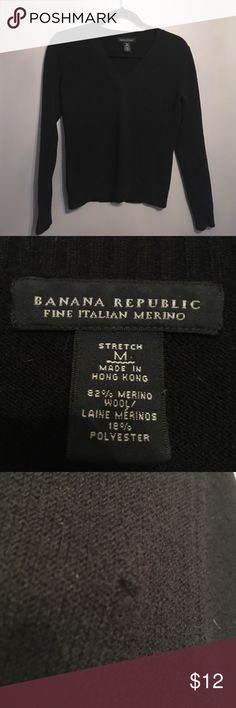 Banana Republic Merino Wool Sweater Black stretch merino wool sweater by Banana Republic, size medium. In great shape, there's a snag on the right shoulder as pictured. Smoke free home Banana Republic Sweaters V-Necks