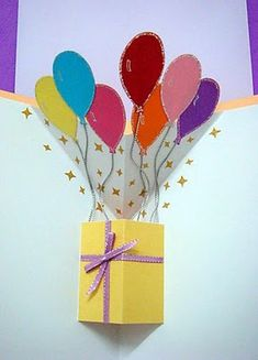 Lin Handmade Greetings Card: Pop up gift box and balloons!